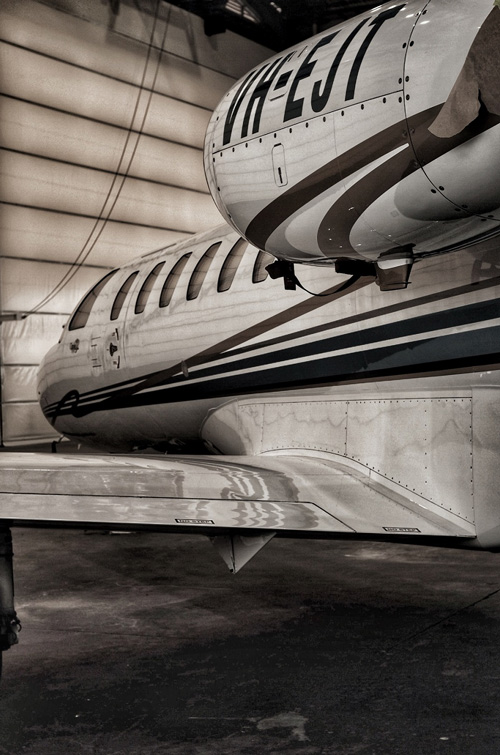 Erceg aviation jet inside hangar